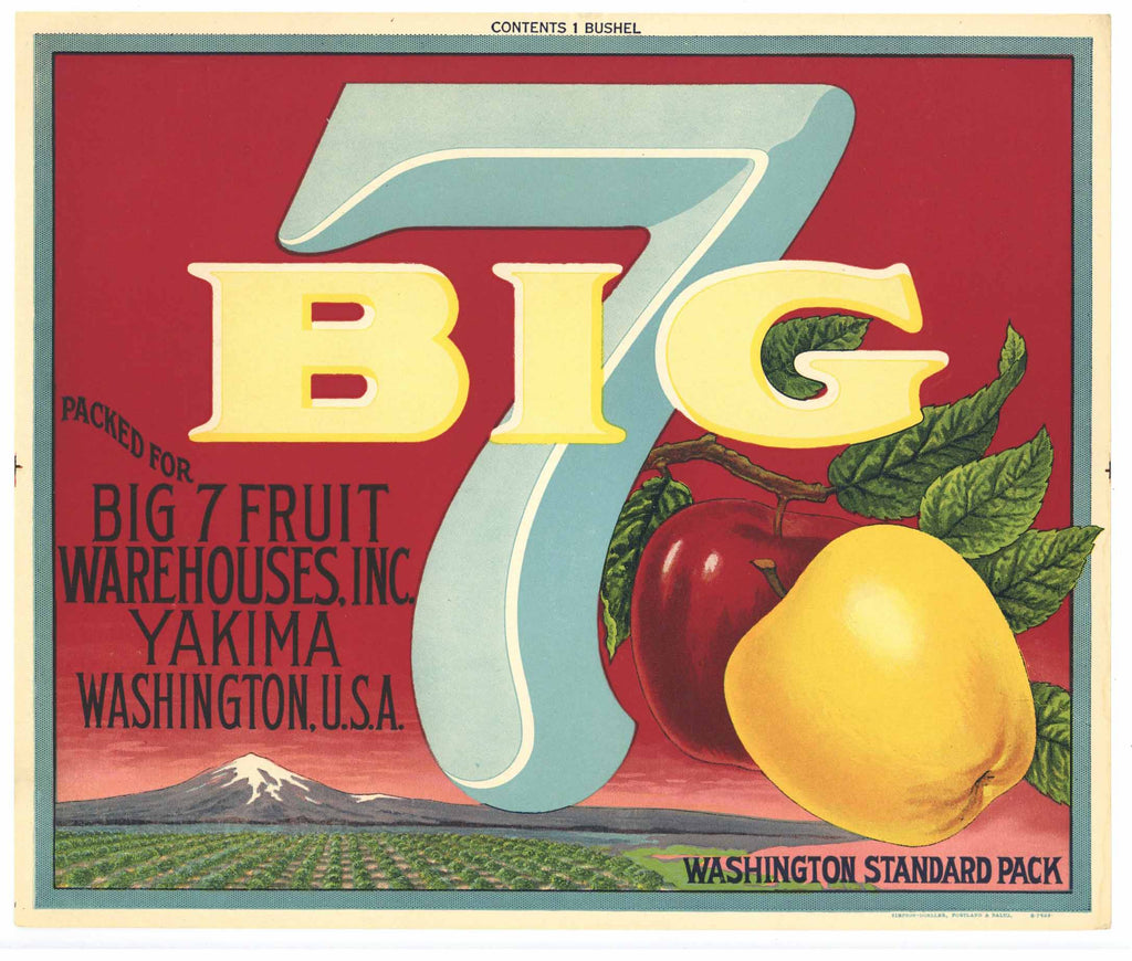 Big 7 Brand Vintage Yakima Washington Apple Crate Label