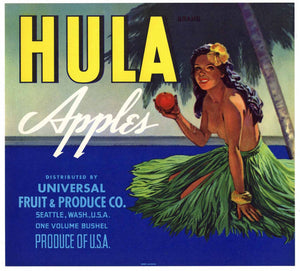 Hula Brand Vintage Washington Apple Crate Label