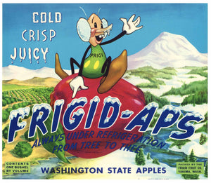Frigid Aps Brand Vintage Yakima Washington Apple Crate Label