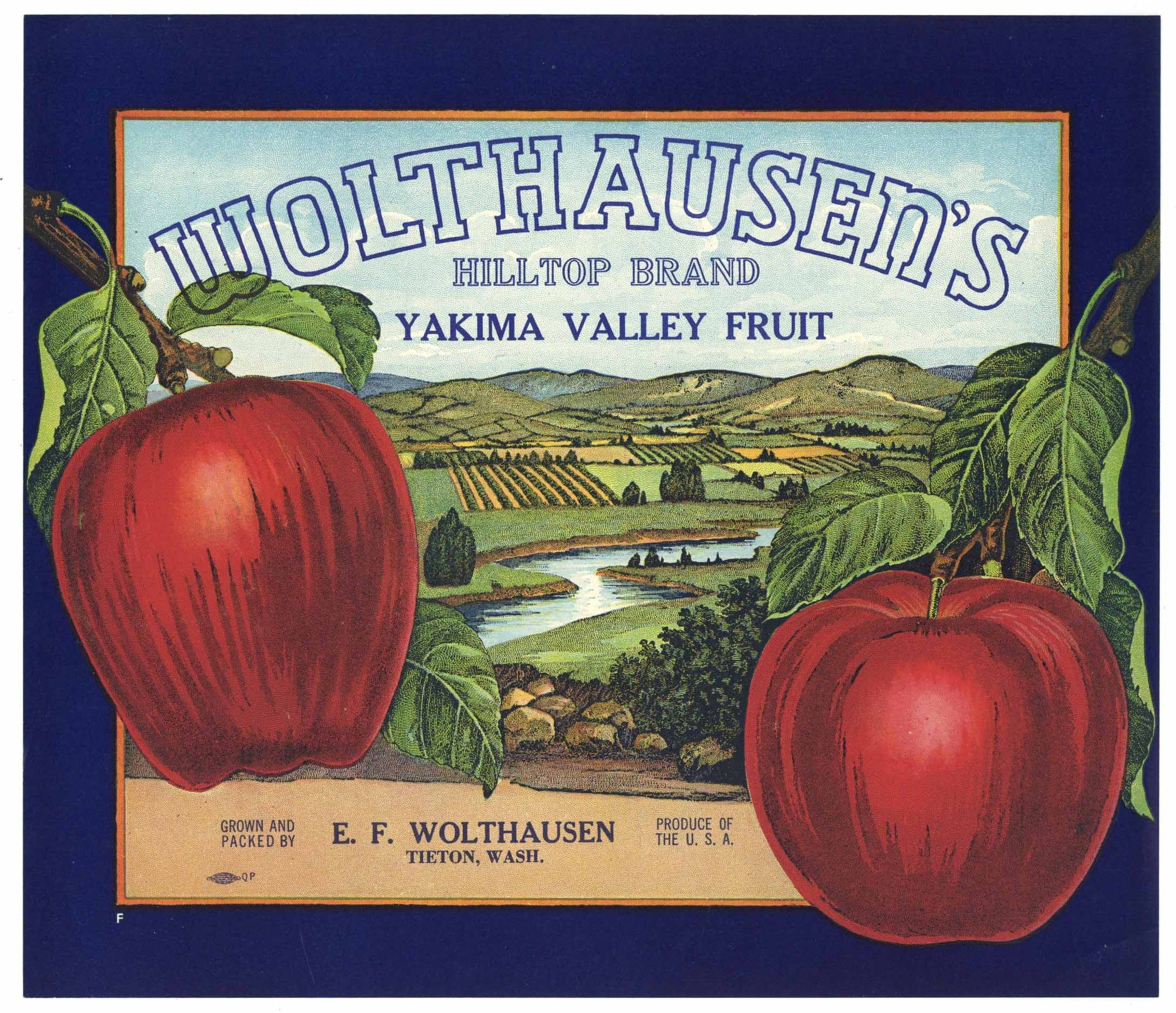 Wolthausen's Hilltop Brand Vintage Yakima Washington Apple Crate Label