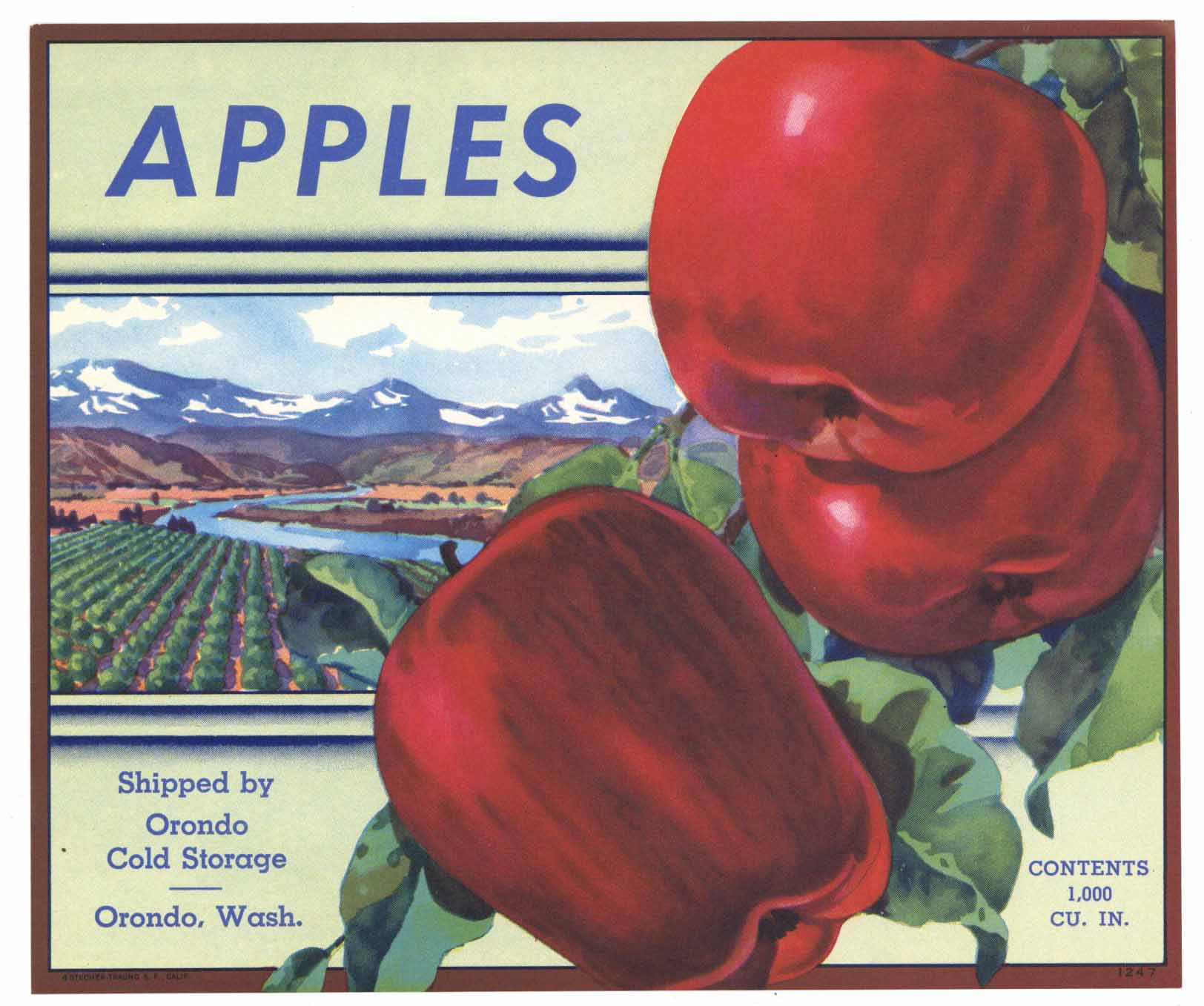 Apples Brand Vintage Orondo Washington Apple Crate Label, gp