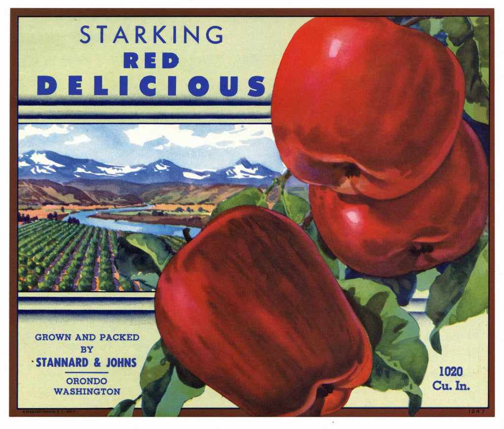 Starking Brand Vintage Orondo Washington Apple Crate Label, gp