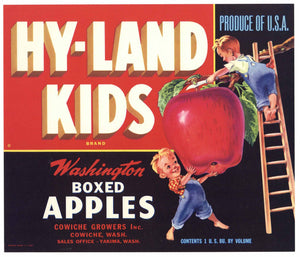 Hy Land Kids Brand Vintage Cowiche Washington Apple Crate Label, red