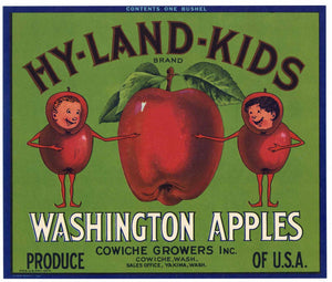 Hy-Land-Kids Brand Vintage Cowiche Washington Apple Crate Label g