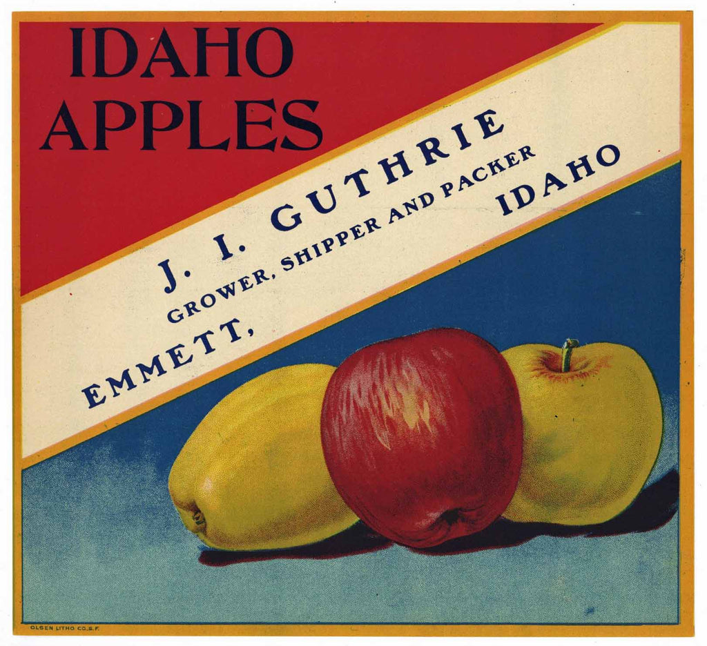 Idaho Apples Brand Vintage Emmett Apple Crate Label
