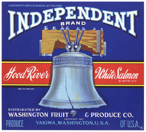 Independent Brand Vintage Washington Apple Crate Label, blue