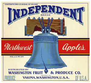 Independent Brand Vintage Washington Apple Crate Label, white