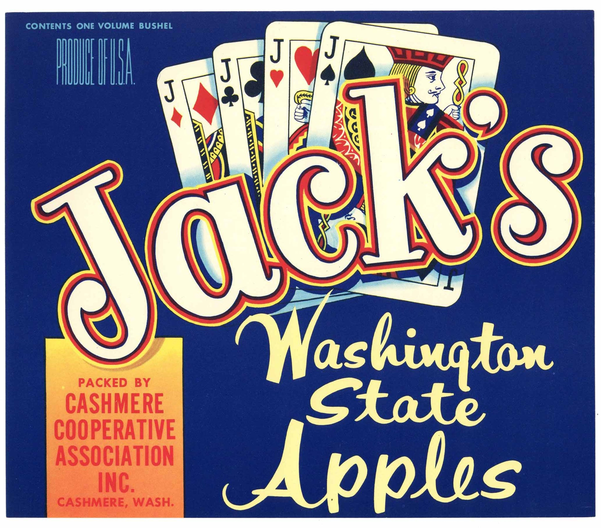 Jack's Brand Vintage Washington Apple Crate Label