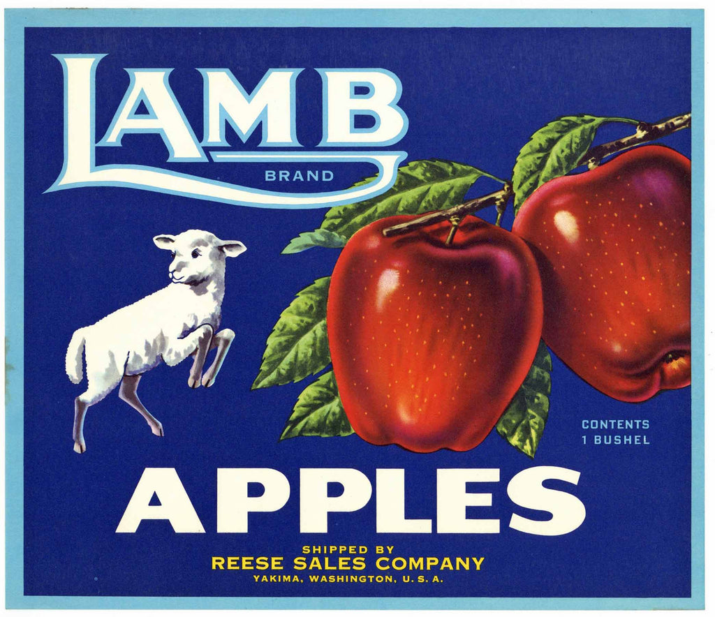 Lamb Brand Yakima Washington Apple Crate Label, Reese Sales