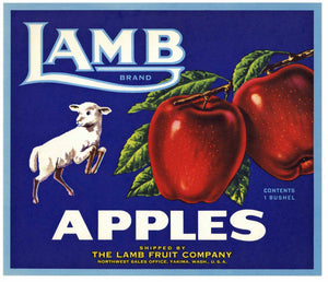 Lamb Brand Yakima Washington Apple Crate Label, Lamb Fruit