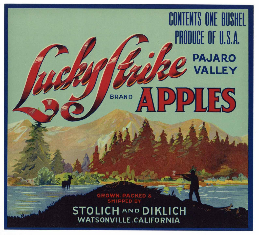 Lucky Strike Brand Vintage Watsonville Apple Crate Label