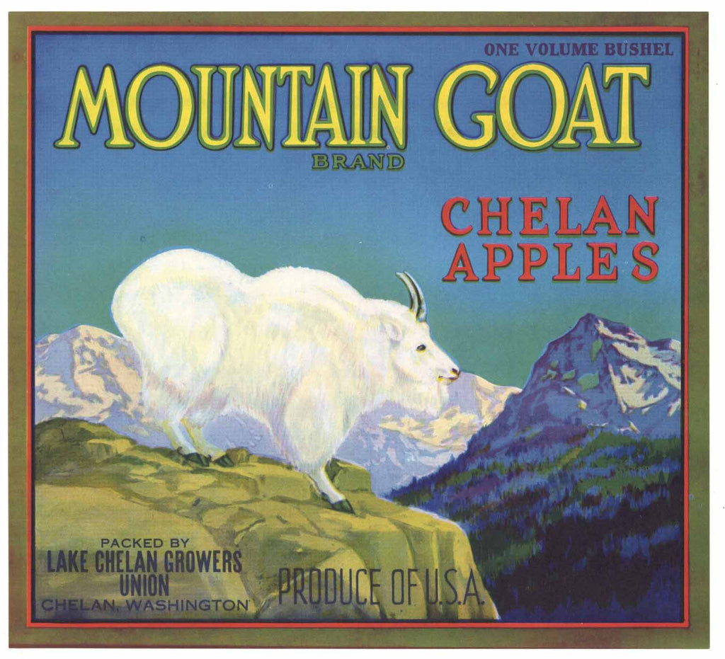 Mountan Goat Brand Vintage Lake Chelan Washington Apple Crate Label
