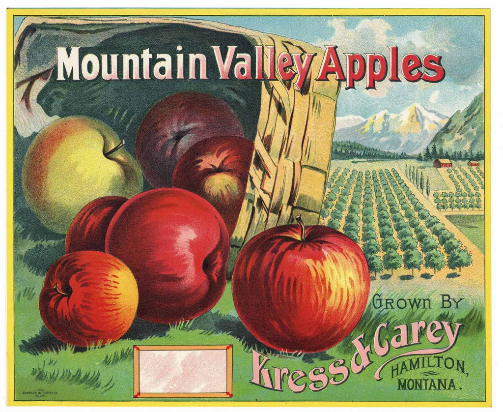 Mountain Valley Apples Brand Vintage Montana Apple Crate Label