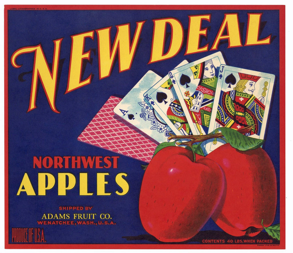 New Deal Brand Vintage Wenatchee Washington Apple Crate Label