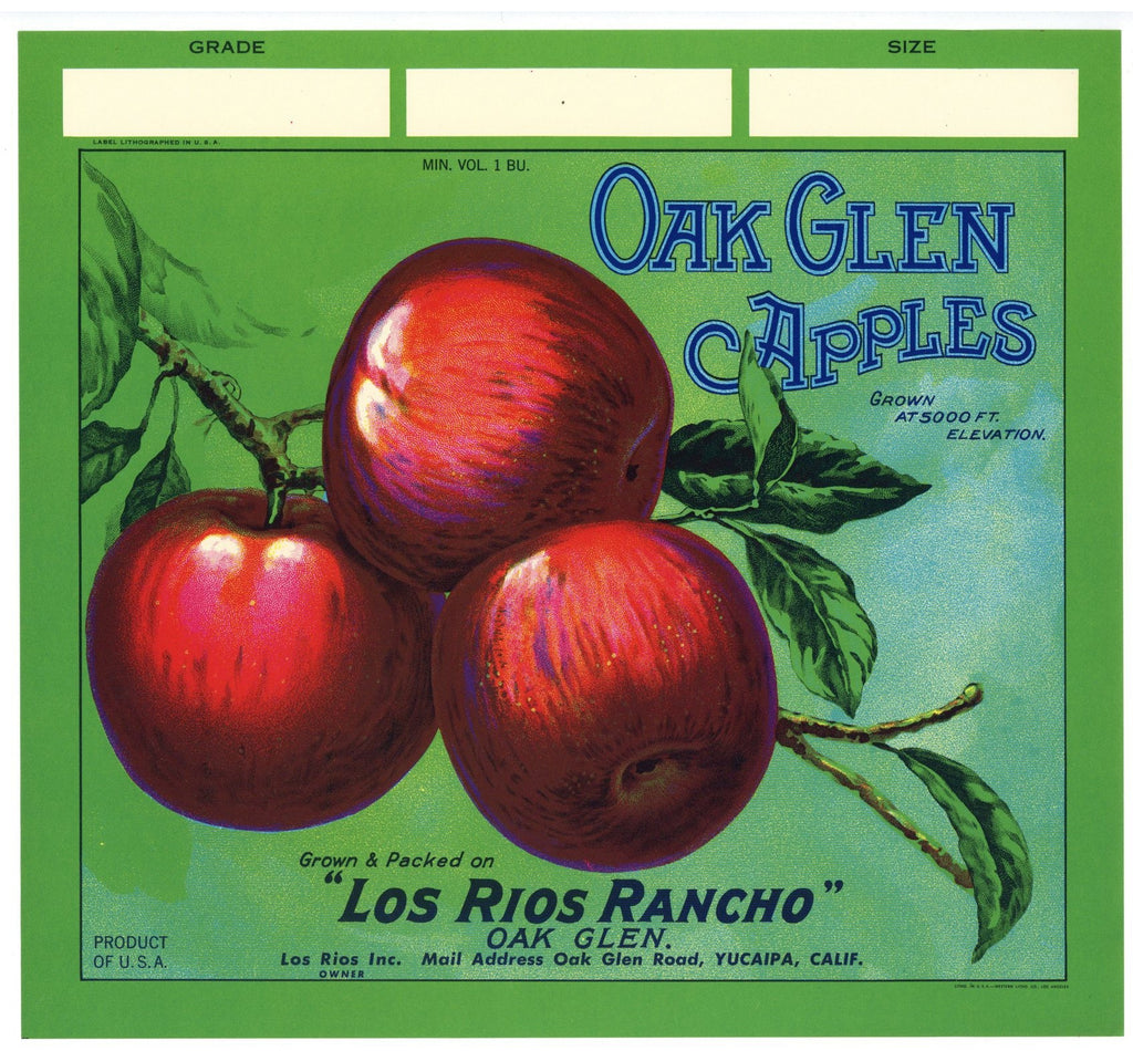 Oak Glen Brand Vintage Yucaipa California Apple Crate Label g