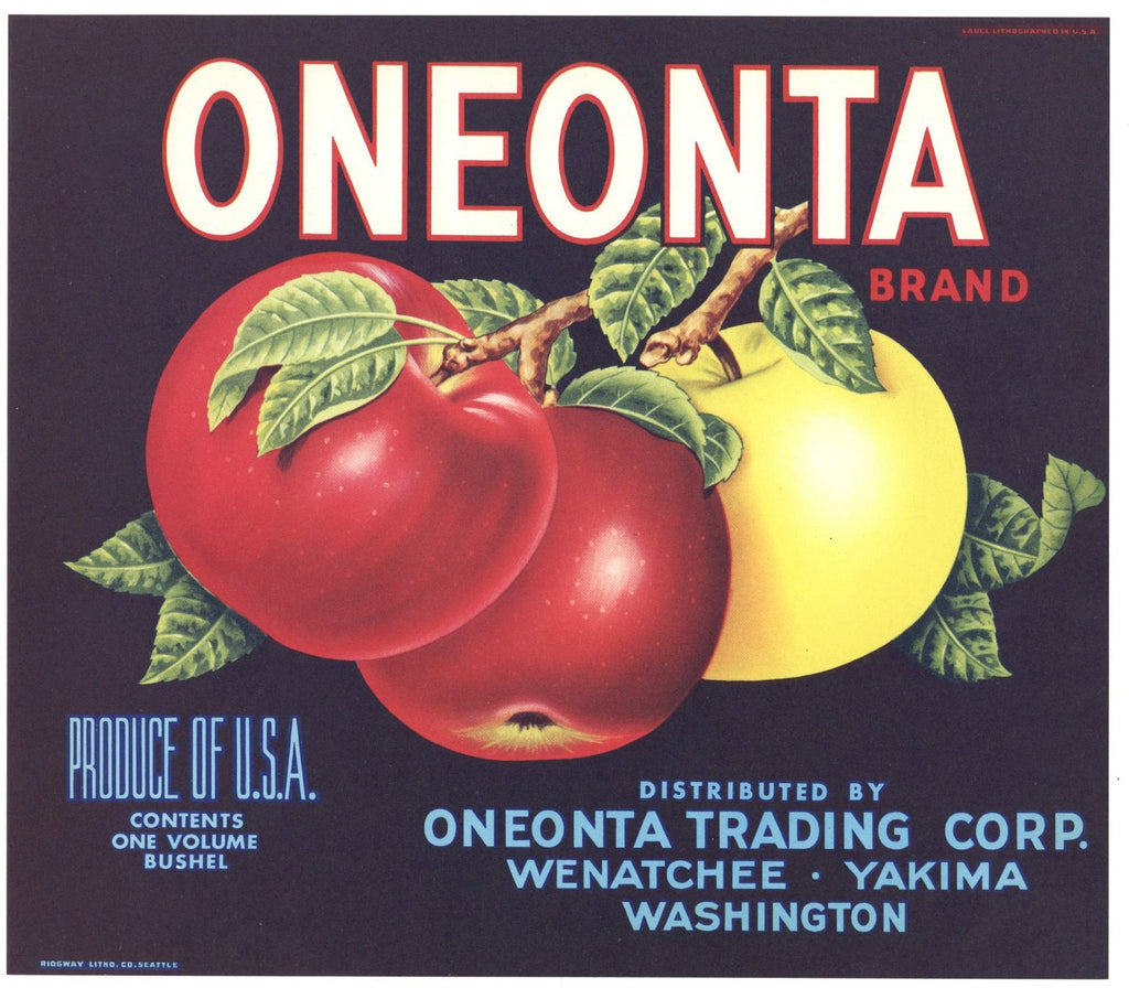 Oneonta Brand Vintage Wenatchee Washington Apple Crate Label