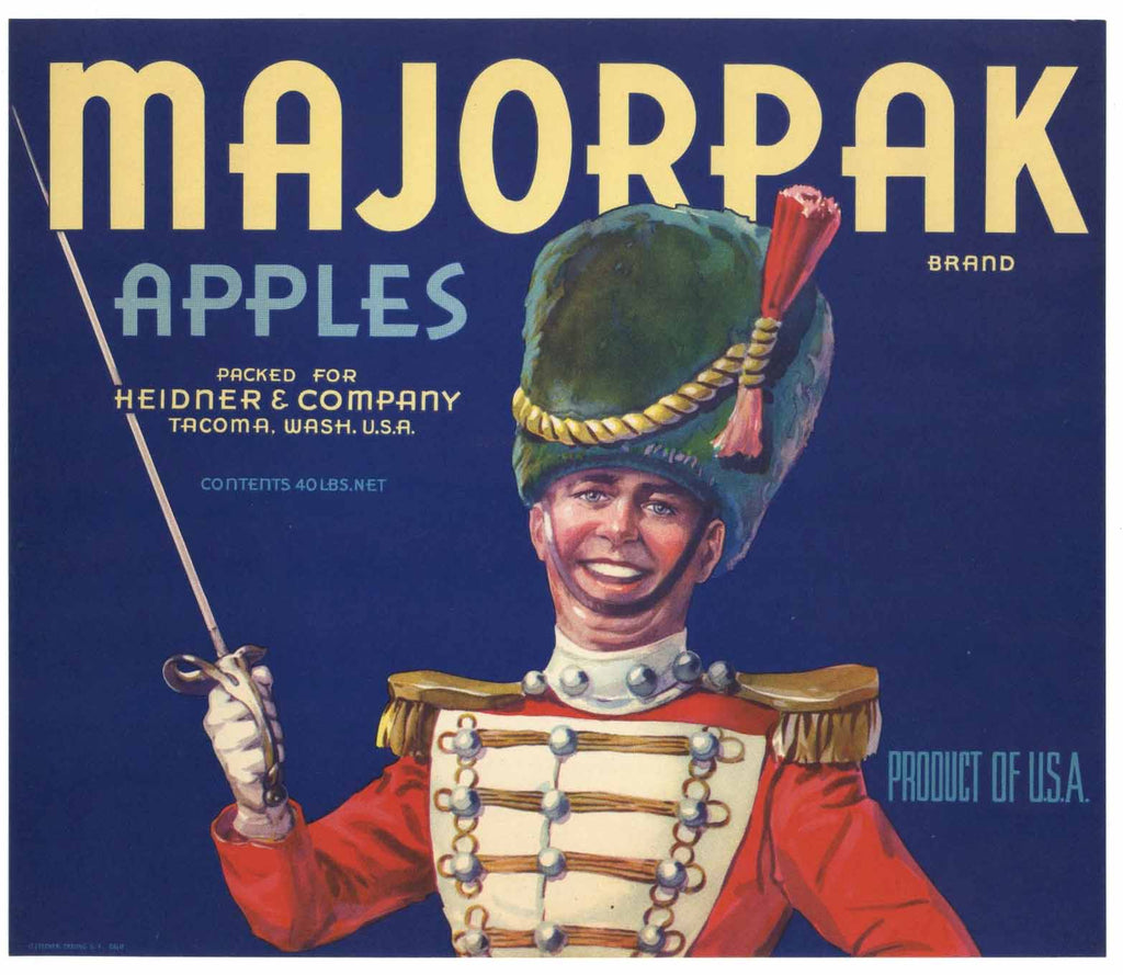 Majorpak Brand Vintage Washington Apple Crate Label