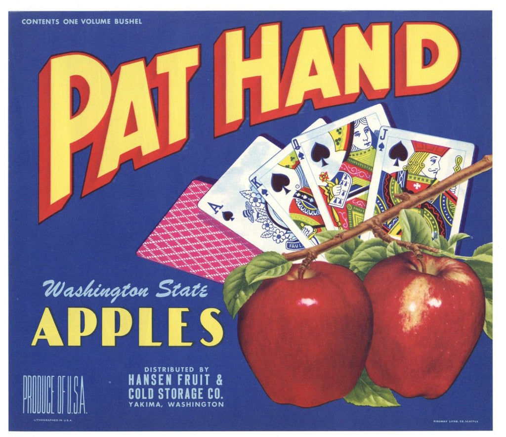 Pat Hand Brand Vintage Yakima Washington Apple Crate Label