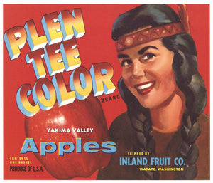 Plen Tee Color Brand Vintage Wapato Washington Apple Crate Label, red