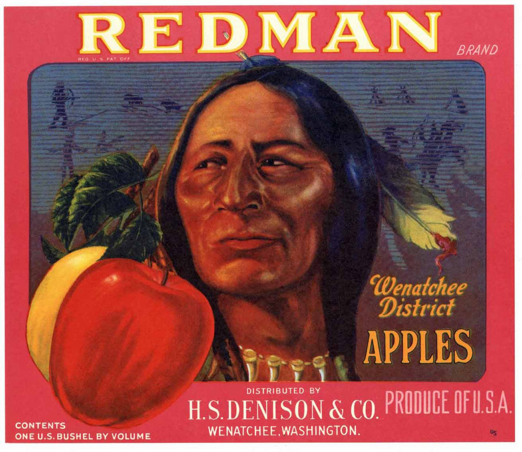 Redman Brand Vintage Washington Apple Crate Label r