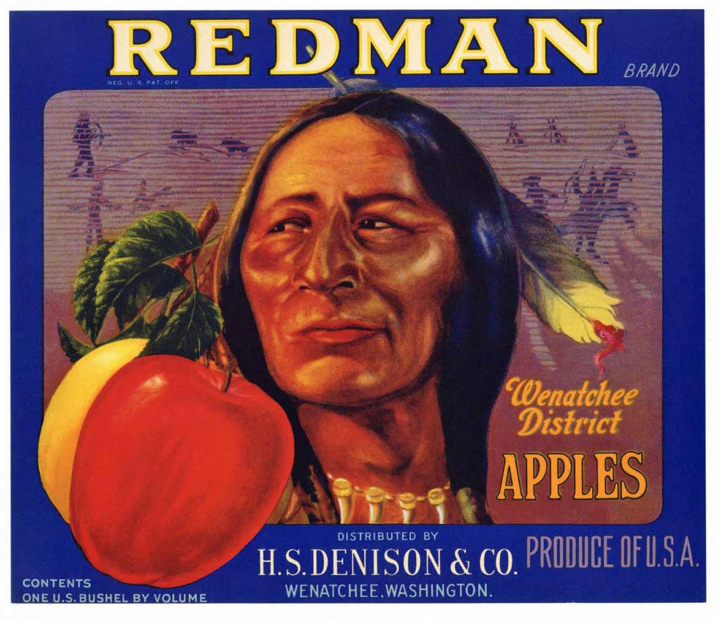 Redman Brand Vintage Washington Apple Crate Label blue