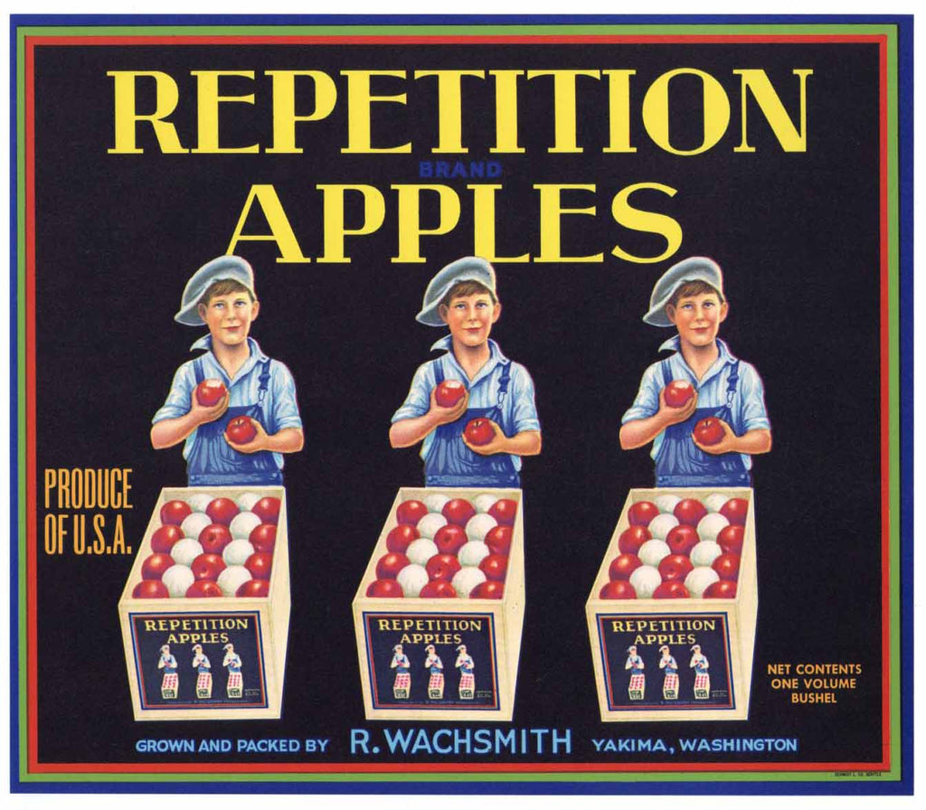 Repetition Brand Vintage Yakima Apple Crate Label