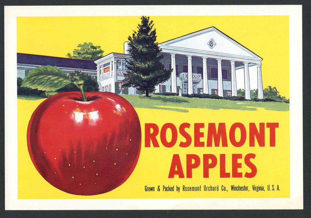 Rosemont Brand Vintage Winchester Virginia Apple Crate Label