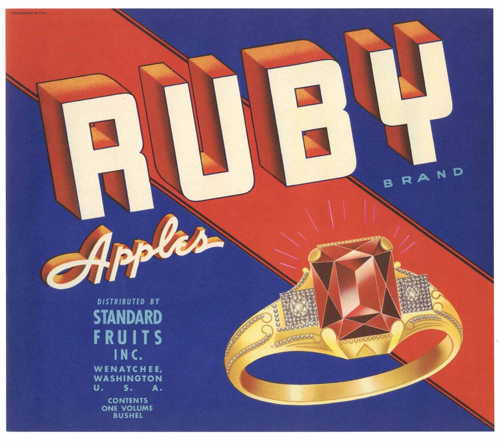 Ruby Brand Vintage Wenatchee Washington Apple Crate Label n