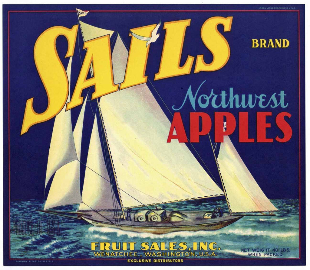 Sails Brand Vintage Washington Apple Crate Label