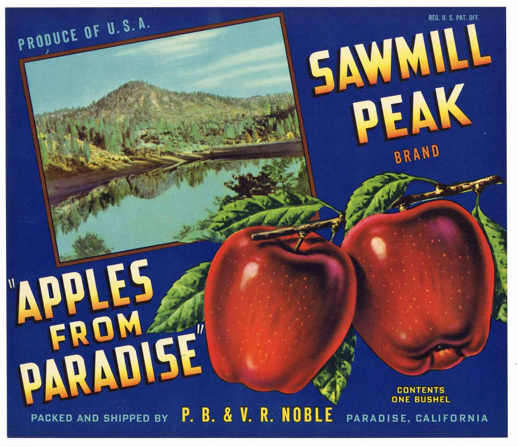 Sawmill Peak Brand Vintage Paradise California Apple Crate Label