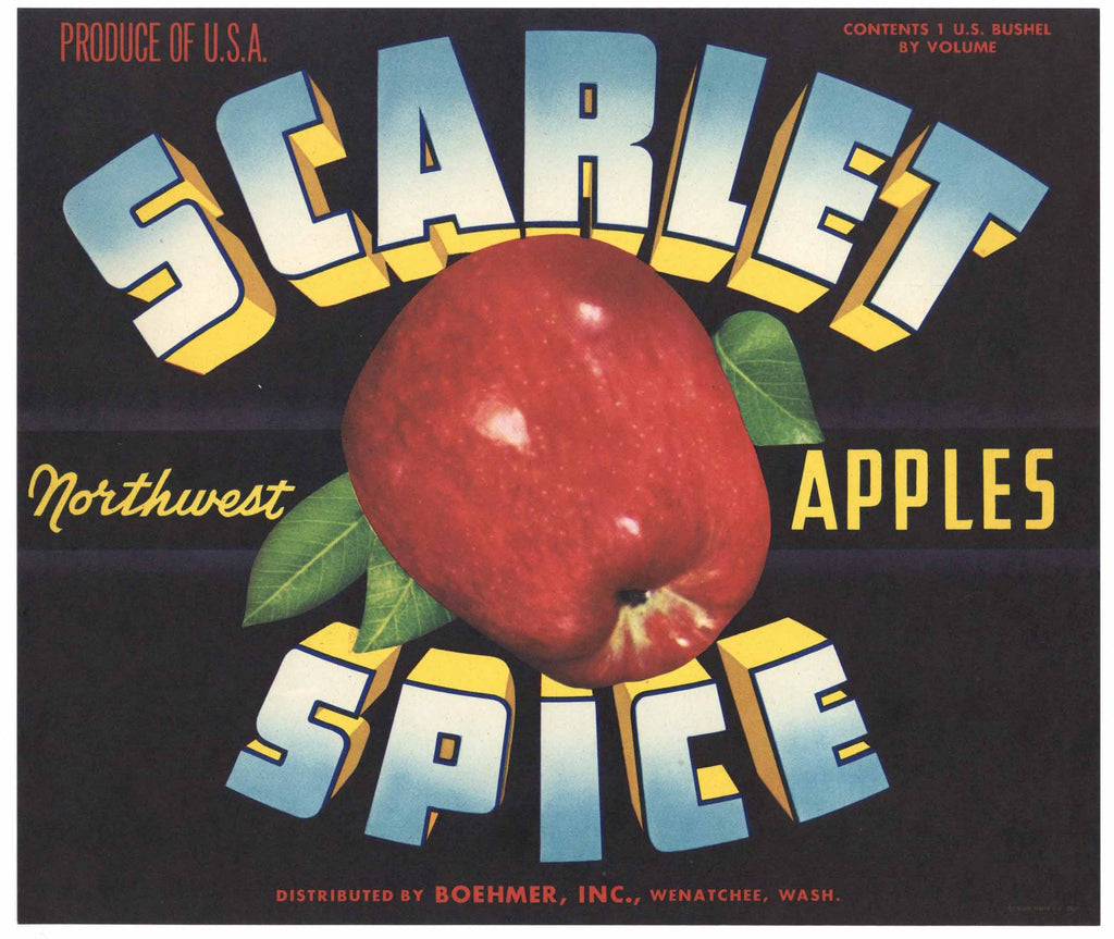Scarlet Spice Brand Vintage Washington Apple Crate Label