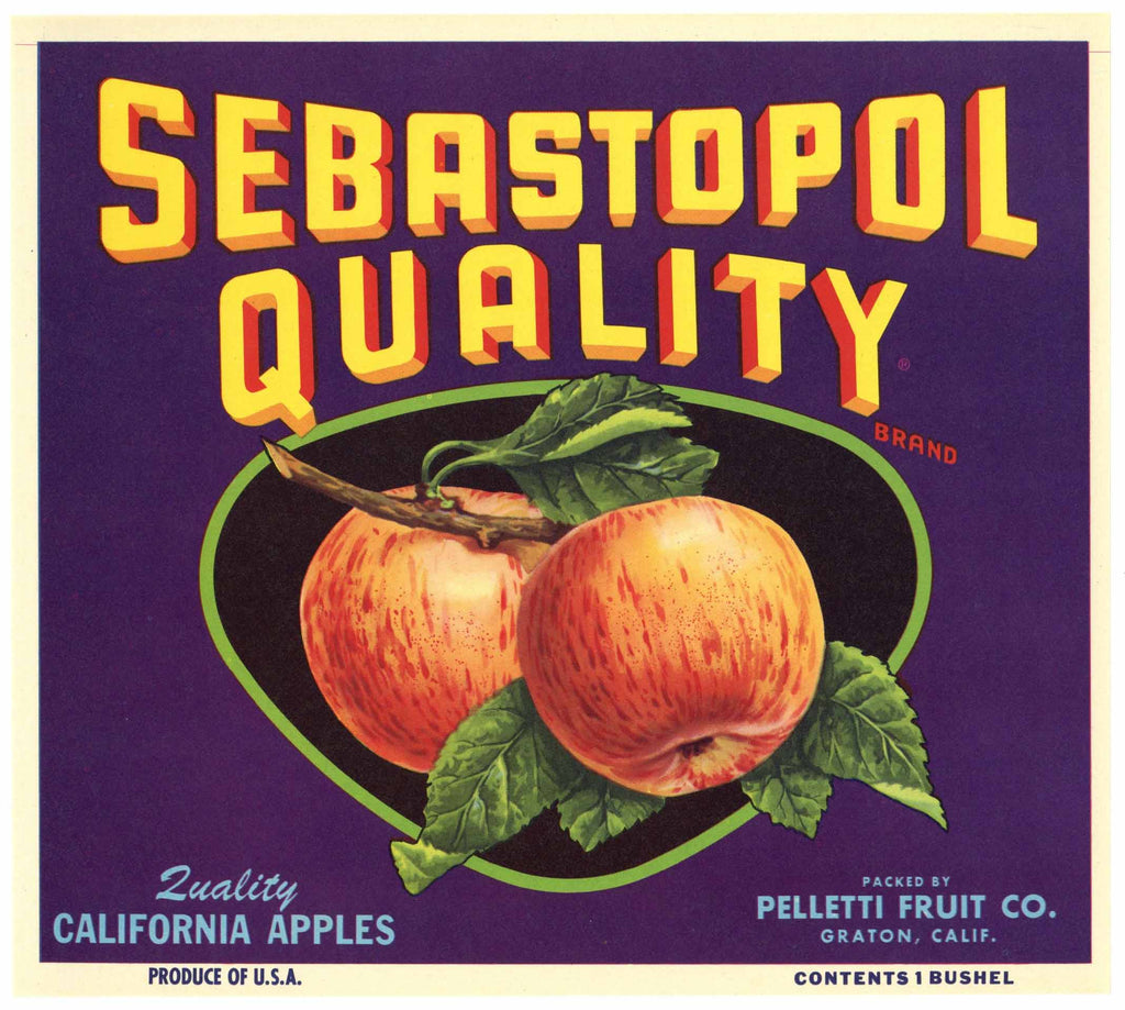 Sebastopol Quality Brand Vintage Apple Crate Label