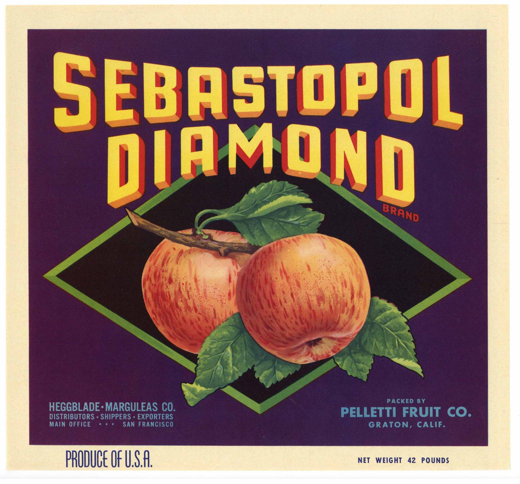 Sebastopol Diamond Brand Vintage Apple Crate Label