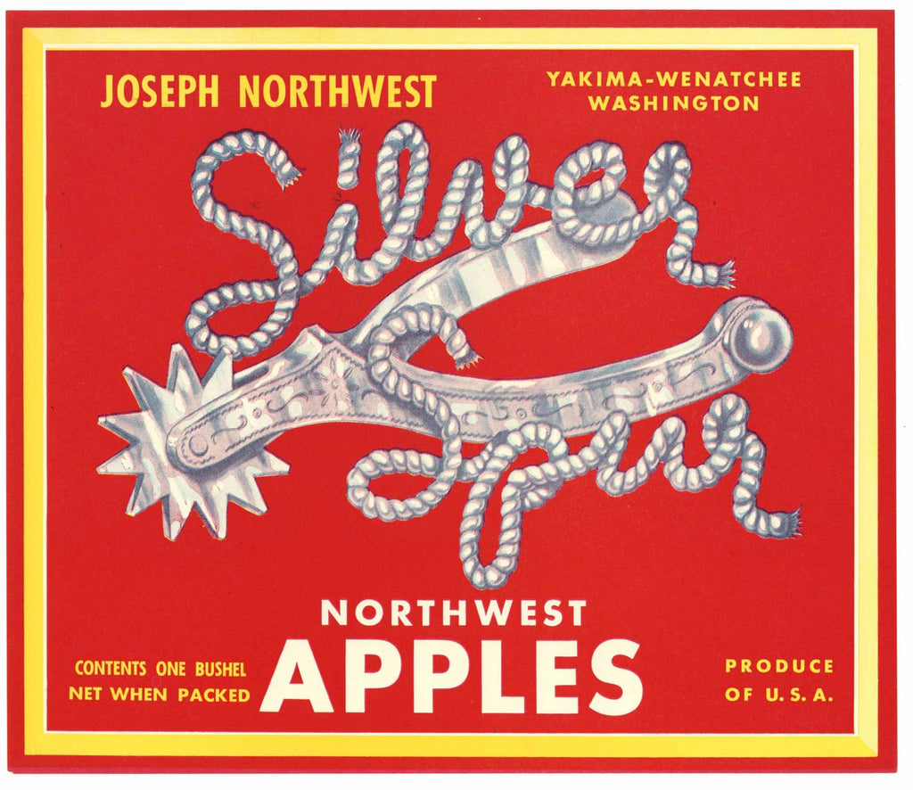 Silver Spur Brand Vintage Washington Apple Crate Label