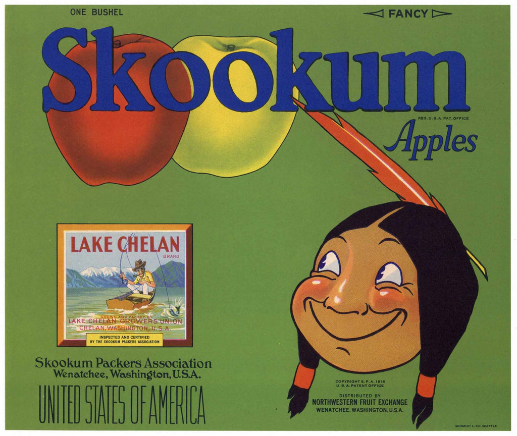 Skookum Brand Vintage Washington Apple Crate Label, green