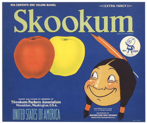 Skookum Brand Vintage Washington Apple Crate Label, blue, Doc