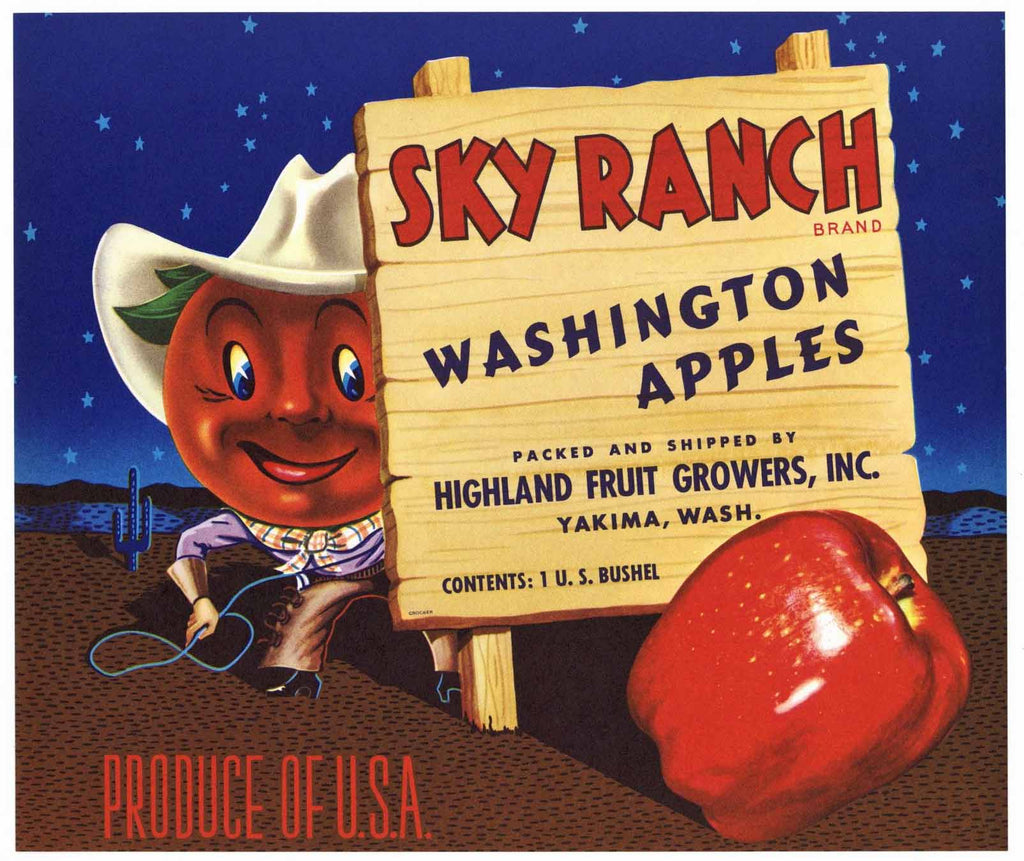 Sky Ranch Brand Vintage Yakima Washington Apple Crate Label