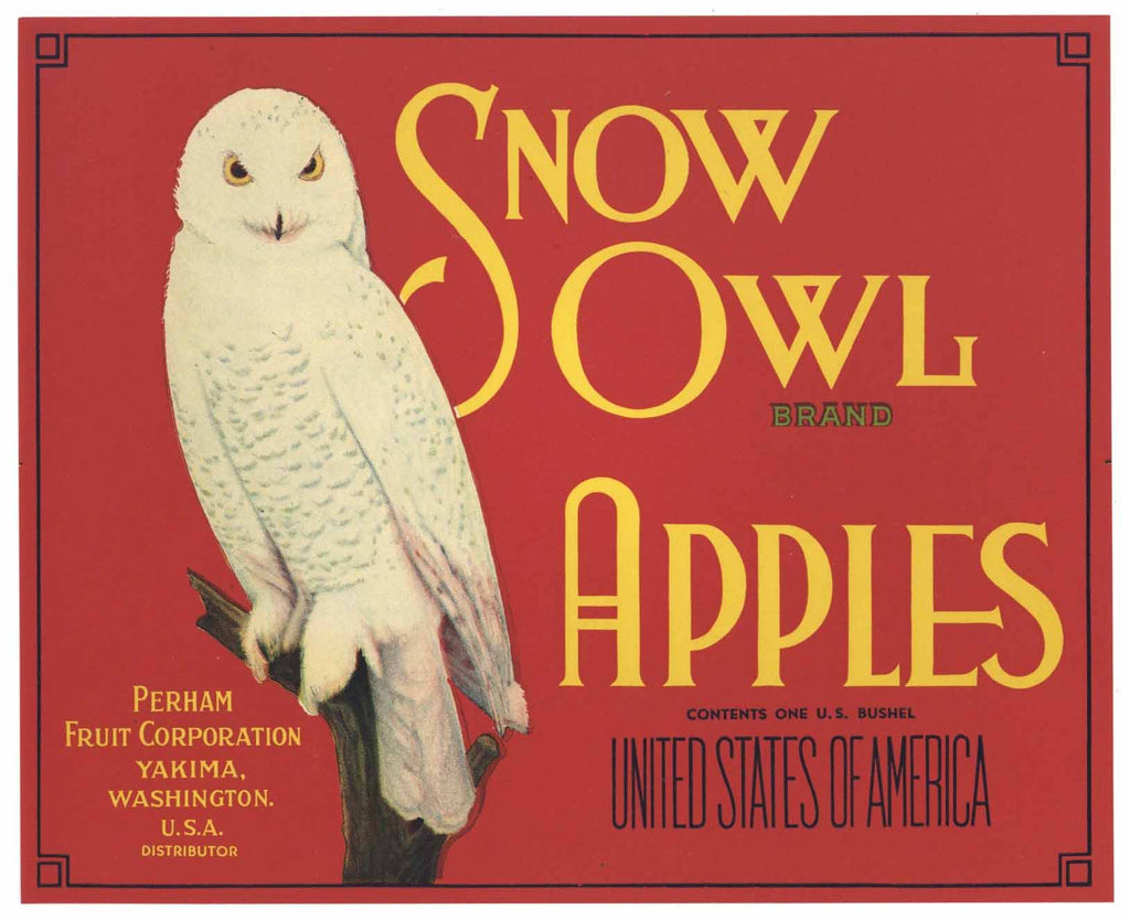 Snow Owl Brand Vintage Yakima Washington Apple Crate Label r