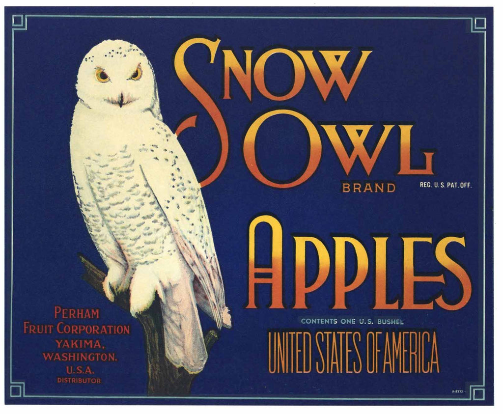 Snow Owl Brand Vintage Washington Apple Crate Label b