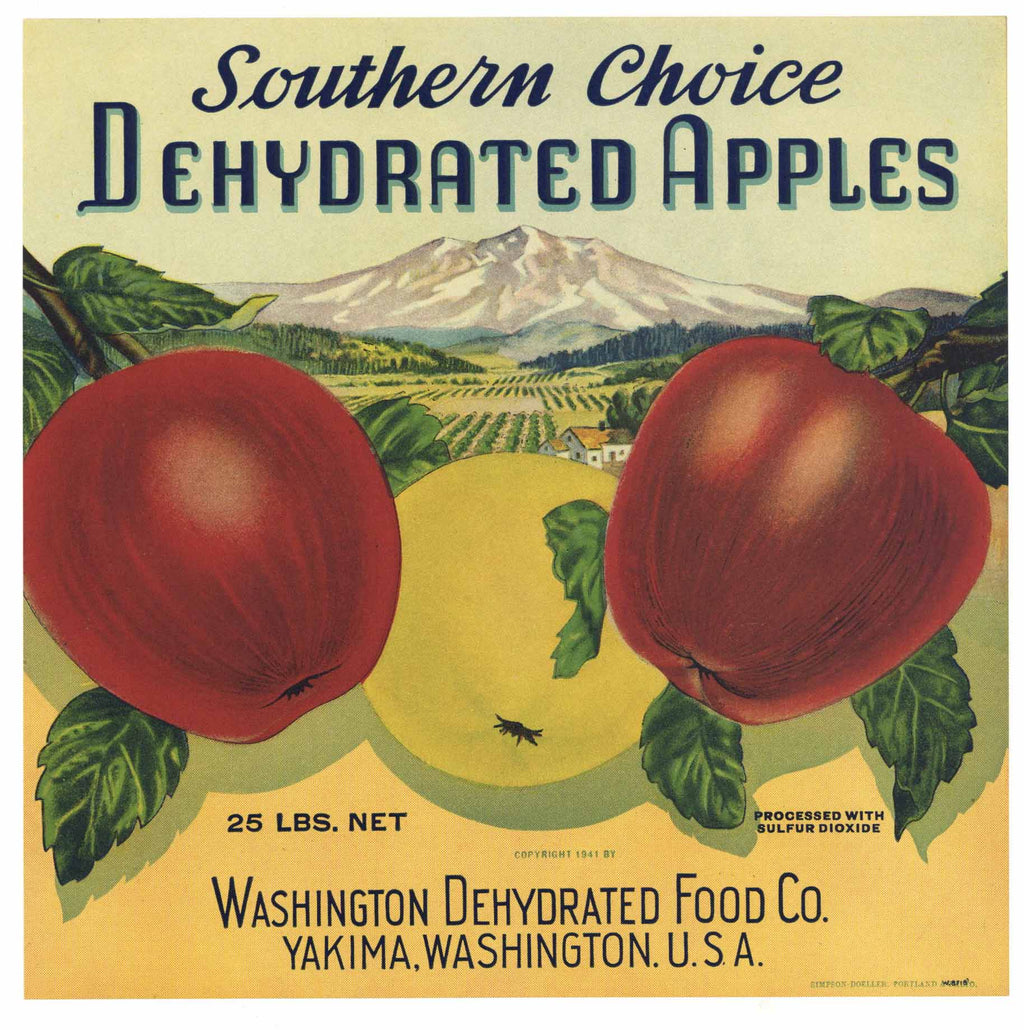 Southern Choice Brand Vintage Yakima Washington Apple Crate Label