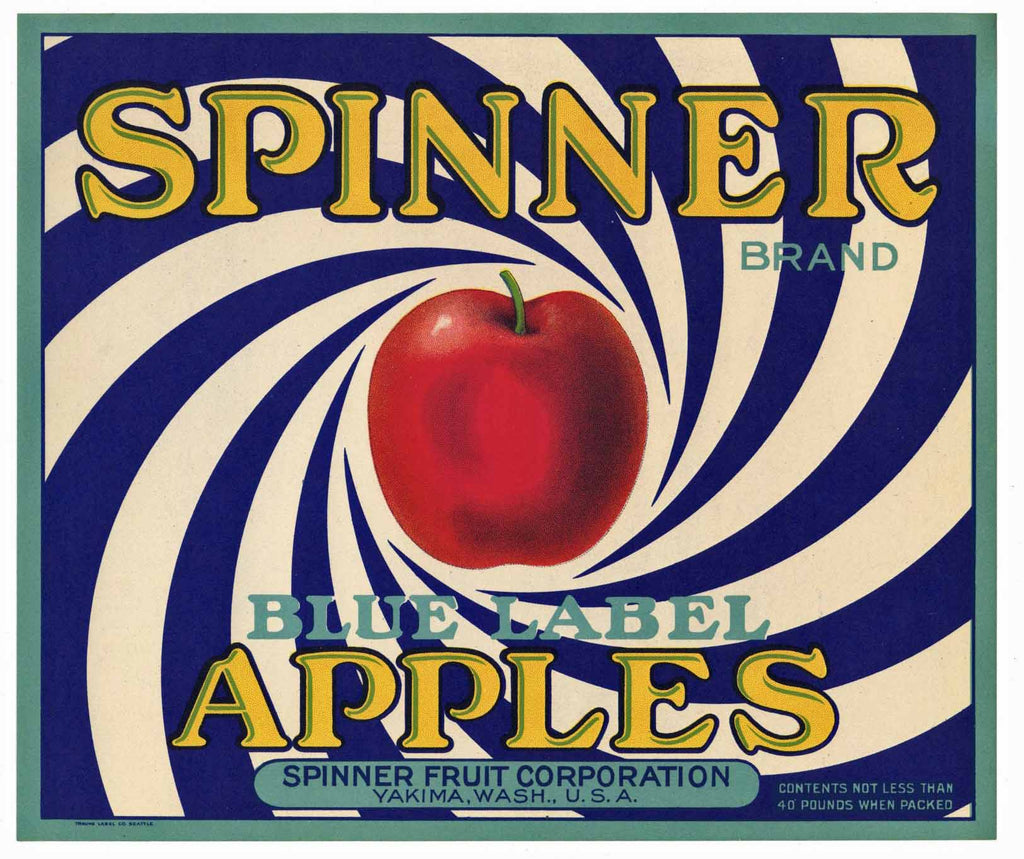 Spinner Brand Vintage Yakima Washington Apple Crate Label, blue