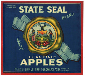 State Seal Brand Vintage Emmett Idaho Apple Crate Label, blue