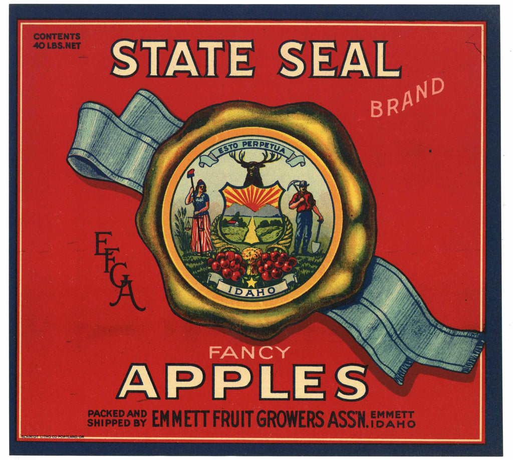 State Seal Brand Vintage Emmett Idaho Apple Crate Label, red