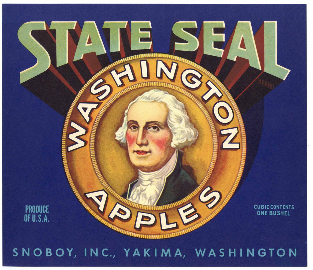 State Seal Brand Vintage Snoboy Inc Apple Crate Label