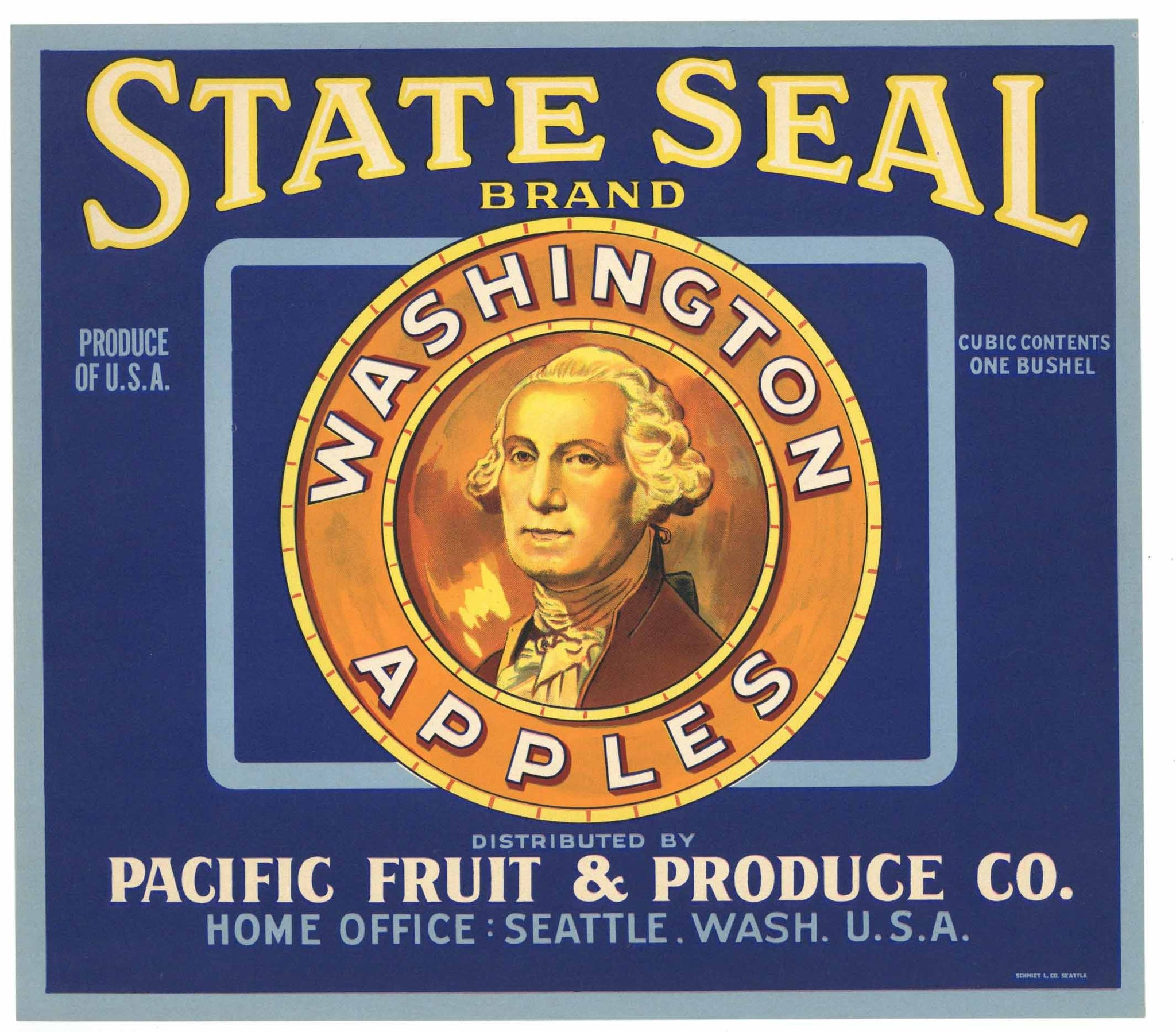 State Seal Brand Vintage Pacific Fruit & Produce Apple Crate Label
