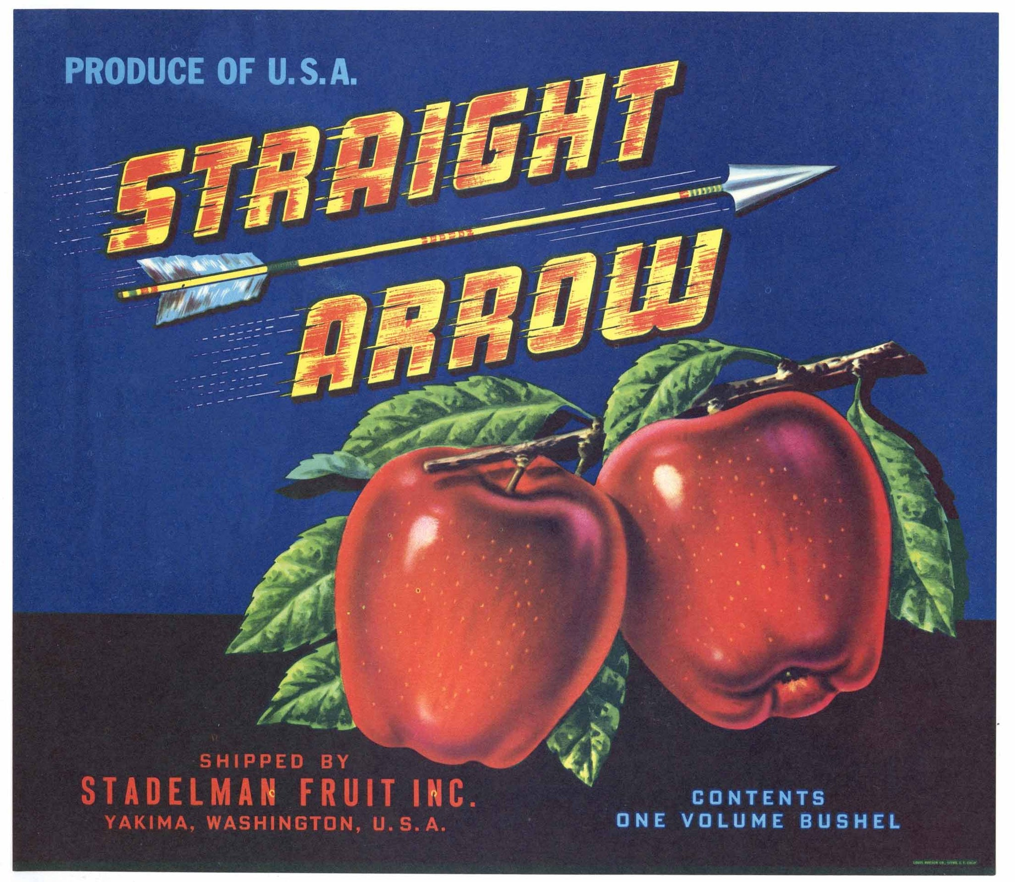 Straight Arrow Brand Vintage Yakima Washington Apple Crate Label