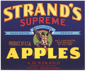 Strand's Supreme Brand Vintage Tieton Washington Apple Crate Label
