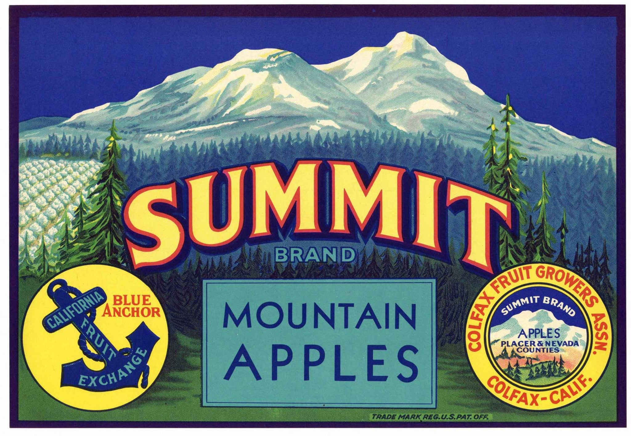 Summit Brand Vintage Colfax Placer County Apple Crate Label
