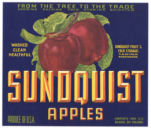 Sundquist Brand Vintage Yakima Washington Apple Crate Label