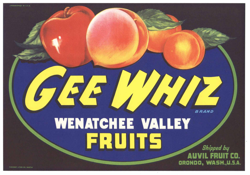Gee Whiz Brand Vintage Washington Fruit Crate Label